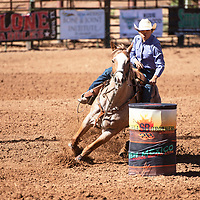 Kylie Gilbert barrel racing in the New Mexico High School Rodeo Association State Finals at Red Rock Park, Friday, May 24 in Church Rock.