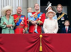 File photo dated 13/6/2015 of the Duchess of Cornwall, the Prince of Wales, Prince George, the Duke and Duchess of Cambridge, Queen Elizabeth II, Prince Harry, James Viscount Severn on the balcony at Buckingham Palace following Trooping the Colour at Horse Guards Parade, London.
