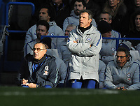 Football - 2018 / 2019 Premier League - Chelsea vs. Fulham<br /> <br /> Chelsea coach, Gianfranco Zola and Chelsea Manager, Maurizio Sarri (left), at Stamford Bridge.<br /> <br /> COLORSPORT/ANDREW COWIE