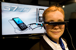 HANNOVER, GERMANY - MARCH-6-2008 -  Another slick gizmo is the G777 from General Mobile Inc., which they bill as the absolute multimedia mobile phone featuring cinema action on the go - movies can be watched and Ebooks can be read with the space aged video glasses. This is a dual band 900/1800 phone supporting GPRS, WAP and internet services and. It also features a 3mp camera, video recorder, webcam function, mp3 player, bluetooth and USB data transfer, and is priced at 399 euros..(Photo © Jock Fistick)