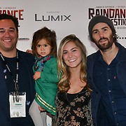 Director Richard Raymond, daughter,wife and Jim Sturgess attend 'Souls of Totality' film at Raindance Film Festival 2018, London, UK. 30 September 2018.