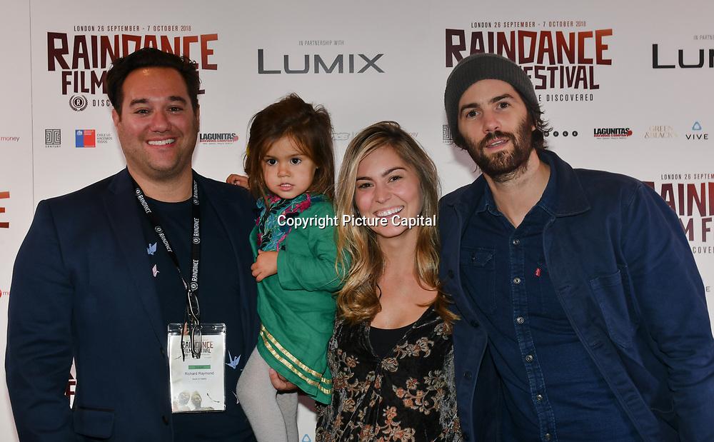 Director Richard Raymond, daughter,wife and Jim Sturgess attend 'Souls of Totality' film at Raindance Film Festival 2018, London, UK. 30 September 2018.