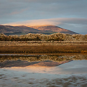 Last light on Criffel from Mersehead Sands, Dumfries and Galloway, Scotland.