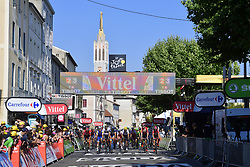 July 18, 2017 - Romans-Sur-Isere, France - ROMANS-SUR-ISERE, FRANCE - JULY 18 : Illustration picture of the finish line during stage 16 of the 104th edition of the 2017 Tour de France cycling race, a stage of 165 kms between Le Puy-en-Velay and Romans-Sur-Isere on July 18, 2017 in Romans-Sur-Isere, France, 18/07/2017 (Credit Image: © Panoramic via ZUMA Press)