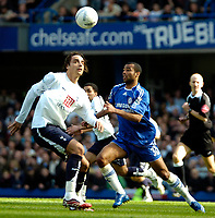 Photo: Ed Godden/Sportsbeat Images.<br /> Chelsea v Tottenham Hotspur. The FA Cup. 11/03/2007.<br /> Spurs' Dimitar Berbatov (L), is confronted by Ashley Cole.