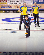 """Glasgow. SCOTLAND. Scotland """"Skip"""", Eve MUIRHEAD, watches her stone's progress, during the  Le Gruyère European Curling Championships. 2016 Venue, Braehead  Scotland<br /> Sunday  20/11/2016<br /> <br /> [Mandatory Credit; Peter Spurrier/Intersport-images]"""