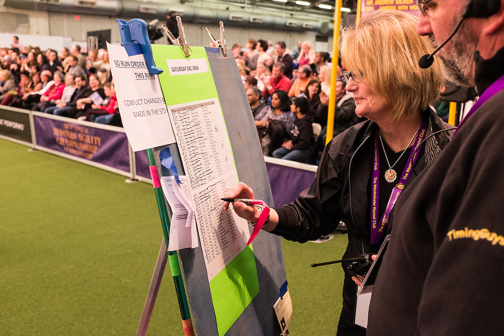 New York, NY - 8 February 2014. An official of the Westminster Kennel Club checks the roster for the next dog to participate in the agility trials at the Westminster Kennel Club dog show. A timing official looks over her shoulder..