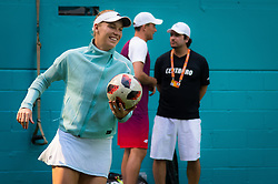 March 23, 2019 - Miami, FLORIDA, USA - Caroline Wozniacki of Denmark warms up for her third-round match at the 2019 Miami Open WTA Premier Mandatory tennis tournament (Credit Image: © AFP7 via ZUMA Wire)