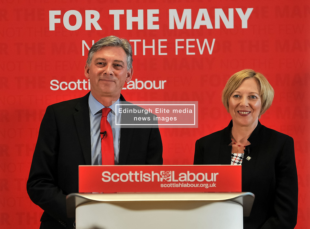 Pictured: Richard Leonard with his new deputy Lesley Laird.<br /> <br /> Scottish Labour leader Richard Leonard announced his new deputy leader, Fife MP Lesley Laird, at a speech in Glasgow.<br /> <br /> © Dave Johnston/ EEm