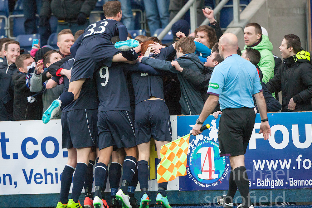 Falkirk's Mark Millar cele with team mates after scoring their goal from the penalty spot.<br /> Falkirk 1 v 0 Queen of the South, Scottish Championship game today at the Falkirk Stadium.<br /> © Michael Schofield.