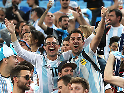 SAINT PETERSBURG, June 26, 2018  Fans of Argentina celebrate victory after the 2018 FIFA World Cup Group D match between Nigeria and Argentina in Saint Petersburg, Russia, June 26, 2018. Argentina won 2-1 and advanced to the round of 16. (Credit Image: © Yang Lei/Xinhua via ZUMA Wire)