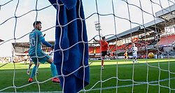 Dundee United's Logan Chalmers scoring their sixth goal. Dundee United 6 v 0 Morton, Scottish Championship game played 28/9/2019 at Dundee United's stadium Tannadice Park.