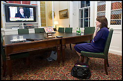 Samantha Cameron watches her husbands speech being repeated on the news inside Number 10 Downing street,  as he becomes the new British Prime Minister, Tuesday May 11, 2010. Photo By Andrew Parsons