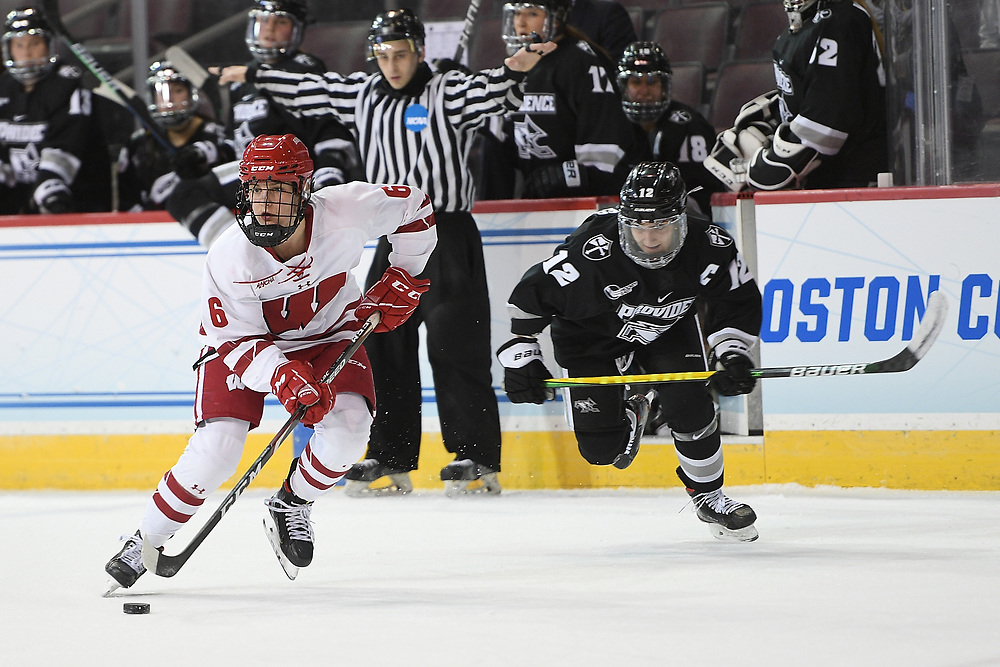 ERIE, PA - MARCH 16: Lacey Eden #6 of the Wisconsin Badgers skates with the puck in the first period during the NCAA Tournament Quarterfinals game against the Providence Friars at the Erie Insurance Arena on March 16, 2021 in Erie, Pennsylvania. (Photo by Justin Berl)