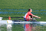 Lucerne, SWITZERLAND.  Women's Single Scull Semi-Final, SRB. W1X. Iva OBRADOVIC. finish area. 2012 FISA Olympic Qualifying Regatta on the Rotsee Rowing Course,  Tuesday  22/05/2012  [Mandatory Credit Peter Spurrier/ Intersport Images]