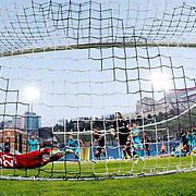 Kasimpasa SK's scores during their Turkish Superleague soccer match Kasimpasa SK between Besiktas at the Recep Tayyip Erdogan stadium in Istanbul Turkey on Saturday 18 April 2015. Photo by Aykut AKICI/TURKPIX