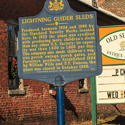 The Lightning Glider Sleds Historic Marker at the former factory in Duncannon, PA.