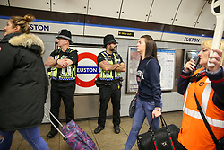 © Licensed to London News Pictures. 17/04/2019. London, UK. British Transport Police Officers at Euston Underground station platform as the Extinction Rebellion group plans to cause disruption on London Underground demanding decisive action from the UK Government on the environmental crisis. Photo credit: Dinendra Haria/LNP