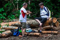 28-05-2018 ESP: We hike to change diabetes day 3, Zubiri<br /> Route van Roncesvalles naar Zubiri / item schoenen blaren medische behandeling Henk Cobi