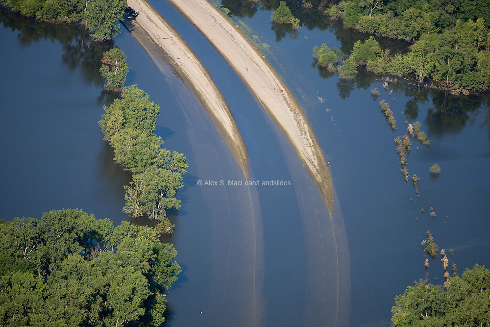 Washed out road near Gulfport Illinois along the Mississippi River after the 2008 Iowa flood.