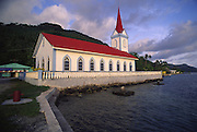 Church in town of Tiva, Tahaa, French Polynesia<br />