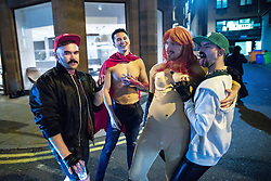 © Licensed to London News Pictures . 28/10/2018. Manchester, UK. Revellers on a night out , many in fancy dress , outside clubs on Peter Street in Manchester City Centre , on the weekend before Halloween . Photo credit: Joel Goodman/LNP