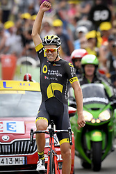 July 8, 2017 - Station Des Rousses, FRANCE - French Lilian Calmejane of Direct Energie celebrates after winning the eighth stage of the 104th edition of the Tour de France cycling race, 187,5km from Dole to Station des Rousses, France, Saturday 08 July 2017. This year's Tour de France takes place from July first to July 23rd. BELGA PHOTO DIRK WAEM (Credit Image: © Dirk Waem/Belga via ZUMA Press)
