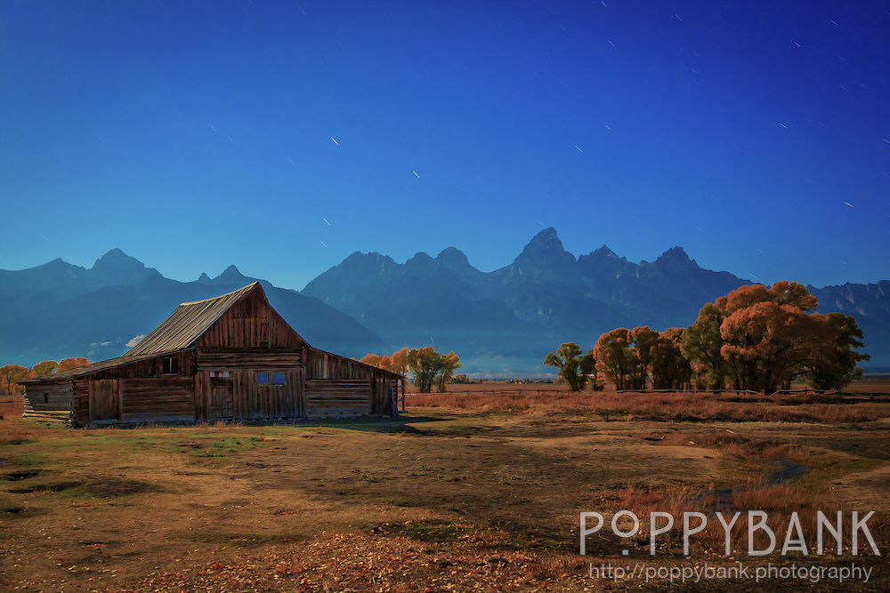Perhaps a more traditional view of the Moulton Barn on Mormon Row in Grand Teton National Park though still lit by a full moon about an hour before sunrise.