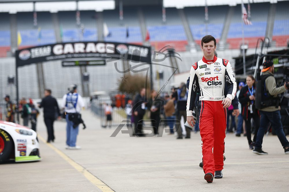 November 03, 2017 - Ft. Worth, Texas, USA: Erik Jones (77) hangs out in the garage during practice for the AAA Texas 500 at Texas Motor Speedway in Ft. Worth, Texas.
