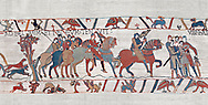 Bayeux Tapestry scene 8 : Guy de Ponthieu, holding falcon, escorts his prisoner, Harold, to Beaurain. BYX8 .<br /> <br /> If you prefer you can also buy from our ALAMY PHOTO LIBRARY  Collection visit : https://www.alamy.com/portfolio/paul-williams-funkystock/bayeux-tapestry-medieval-art.html  if you know the scene number you want enter BXY followed bt the scene no into the SEARCH WITHIN GALLERY box  i.e BYX 22 for scene 22)<br /> <br />  Visit our MEDIEVAL ART PHOTO COLLECTIONS for more   photos  to download or buy as prints https://funkystock.photoshelter.com/gallery-collection/Medieval-Middle-Ages-Art-Artefacts-Antiquities-Pictures-Images-of/C0000YpKXiAHnG2k