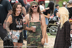 Custom bike builder Brad Gregory with friends at the Born Free Motorcycle Show (BF11) at Oak Canyon Ranch, Silverado  CA, USA. Saturday, June 22, 2019. Photography ©2019 Michael Lichter.