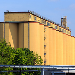 Hershey, PA, USA - May 21, 2018: Cocoa bean silos at the Hershey Chocolate factory in downtown of Hershey.