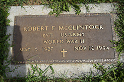 31 August 2017:   Veterans graves in Park Hill Cemetery in eastern McLean County.<br /> <br /> Robert F McCliintock  Private US Army  World War II  May 5 1927  Nov 12 1994