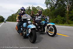 Jody Perewitz riding buddy up with Jason Sims during the Cross Country Chase motorcycle endurance run from Sault Sainte Marie, MI to Key West, FL. (for vintage bikes from 1930-1948). 287 mile ride of Stage-8 from Tallahassee to Lakeland, FL USA. Friday, September 13, 2019. Photography ©2019 Michael Lichter.