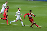 Tom Ince of Huddersfield Town ® in action. Premier league match, Swansea city v Huddersfield Town at the Liberty Stadium in Swansea, South Wales on Saturday 14th October 2017.<br /> pic by  Andrew Orchard, Andrew Orchard sports photography.