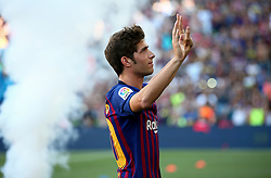 August 15, 2018 - Barcelona, Spain - Sergi Roberto during the presentation of the team 2018-19 before the match between FC Barcelona and C.A. Boca Juniors, corresponding to the Joan Gamper trophy, played at the Camp Nou, on 15th August, 2018, in Barcelona, Spain. (Credit Image: © Joan Valls/NurPhoto via ZUMA Press)