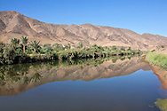 Oasis at the Draa river and clear blue sky reflected in the water, Draa valley, Morocco.