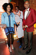 """April 3, 2017- Brooklyn, New York -United States: (L-R) Poet/Actress Sarah Jones, Visual Artist Mickalene Thomas and Author/Writer Charles Blow attend the The Seventh Annual Brooklyn Artists Ball honoring Alicia Keys and Kasseem """"Swiss Beatz"""" Dean held at the Brooklyn Museum on April 3, 2017 in Brooklyn, New York. The Brooklyn Artist Ball is the largest annual fundraising gala at the Brooklyn Museum, which celebrates Brooklyn's creative community and supports the institution's many programs. (Terrence Jennings/terrencejennings.com)"""