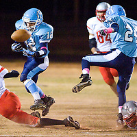 102612       Brian Leddy<br /> Window Rock Scout Kyler Ashley (12) loses control of the ball while running down the field during Friday's game against Monument Valley.