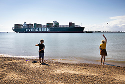 © Licensed to London News Pictures. 03/08/2021. Felixstowe, UK. A youth throws a pebble into the sea as the container ship 'Ever Given' arrives at the port of Felixstowe in Suffolk. The giant 400 metre long cargo ship became stuck in the Suez Canal in March causing worldwide delays to trade and was only released by the Egyptian authorities after an agreement was reached over a £655m compensation claim. Photo credit: Peter Macdiarmid/LNP