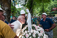 """The work of marble is hard and dangerous, since 1947 there is a """"madonnina"""" of the quarryman who is celebrated in the park called """"Segheria"""" in Gorfigliano, one of the two marble basins of the Garfagnana.<br /> Under the crowns of the chestnut trees there is also a stele showing the many names of those who fell in those quarries. The population has a strong veneration for this little virgin of white marble that is stationed throughout the year at the quarry of the Bacolaio, in the Acqua Bianca basin,"""