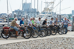 An amazing lineup of 4-cylinder Hendersons with (L to R) Frank Westfall, Byrne Bramwell, Jeff Tiernan, Vern Acres, Tanner Whitton, Andreas Kaindl, Brian Pease, Steve MacDonald and Robert Addis on the boardwalk before the start of the Motorcycle Cannonball Race of the Century Run. Atlantic City, NJ, USA. September 9, 2016. Photography ©2016 Michael Lichter.
