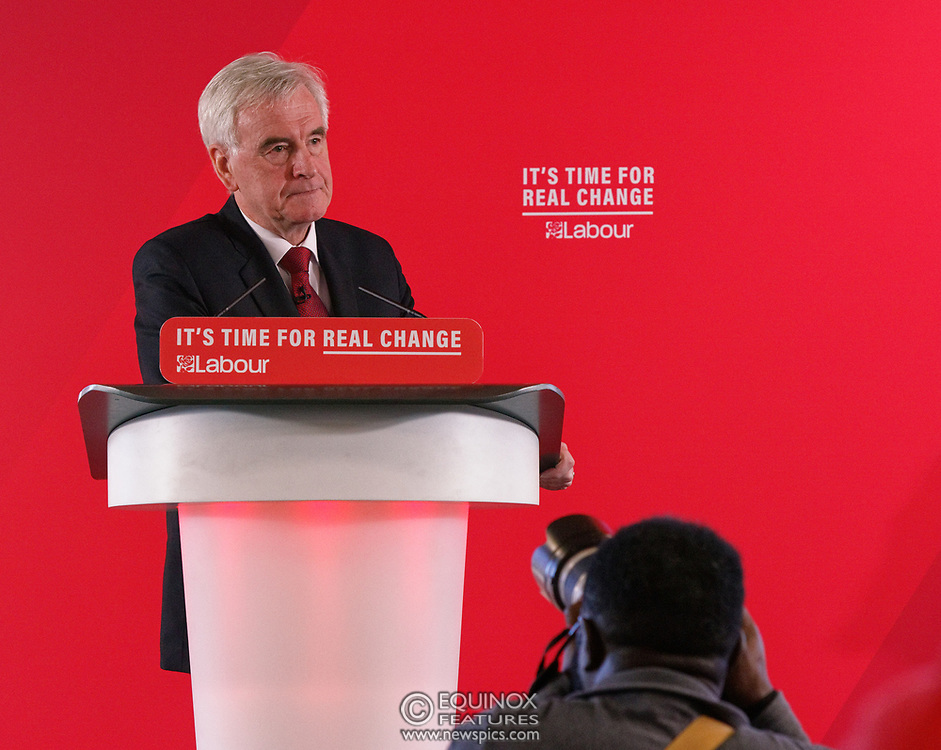 London, United Kingdom - 9 December 2019<br /> John McDonnell gives an economics speech in the run up to the general election 2019, on behalf of the Labour Party at Coin Street Community Builders, London, England, UK.<br /> (photo by: EQUINOXFEATURES.COM)<br /> Picture Data:<br /> Photographer: Equinox Features<br /> Copyright: ©2019 Equinox Licensing Ltd. +443700 780000<br /> Contact: Equinox Features<br /> Date Taken: 20191209<br /> Time Taken: 11452652<br /> www.newspics.com