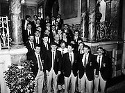 Prior to their return to Mayo, the beaten All Ireland finalists pay a courtesy call to the Department of Foreign Affairs at Iveagh House in Dublin. Mayo had been beaten by Cork in a thrilling final the previous afternoon in Croke Park.<br /> 18 September 1989