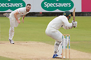 Ben Raine bounces Chris Wright during the Specsavers County Champ Div 2 match between Durham County Cricket Club and Leicestershire County Cricket Club at the Emirates Durham ICG Ground, Chester-le-Street, United Kingdom on 20 August 2019.