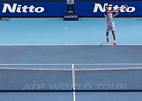 Tennis - 2017 Nitto ATP Finals at The O2 - Day Five<br /> <br /> Group Boris Becker Singles: Roger Federer (Switzerland) Vs Marin Cilic (Croatia)<br /> <br /> Marin Cilic (Croatia) returns serve across the ATP net at the O2 Arena<br /> <br /> COLORSPORT/DANIEL BEARHAM