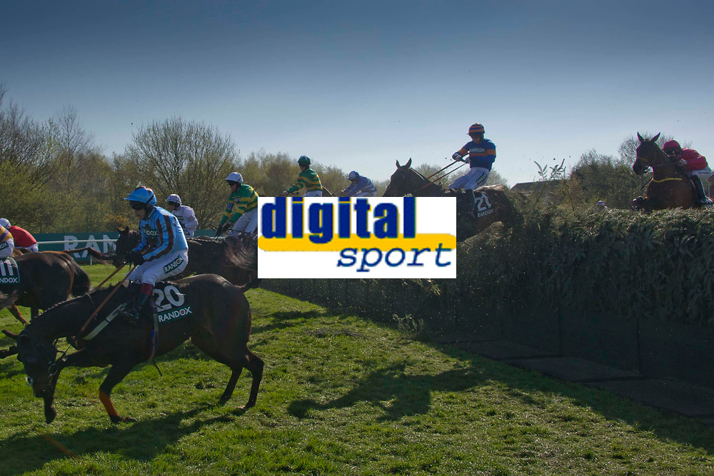 Grand National Meeting - Ladies' Day<br /> e.g. of caption:<br /> National Hunt Horse Racing - 2017 Randox Grand National Festival - Friday, Day Two [Ladies' Day]<br /> <br />   <br /> Richard Johnson on Seafood in the foreground of the field as they jump Beecher's Brook  in the 5th race 16.05  Randox Health Topham Handicap Chase (Grade 3) (National Course) (Class 1)<br /> 2m 5f 19y, Good (Good to Soft in places)<br /> 29 Runners.at Aintree Racecourse.<br /> <br /> COLORSPORT/WINSTON BYNORTH