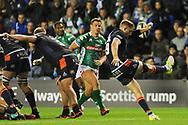 Henry Pyrgos kicks to safety during the Guinness Pro 14 2018_19 match between Edinburgh Rugby and Benetton Treviso at Murrayfield Stadium, Edinburgh, Scotland on 28 September 2018.