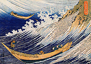 A Wild Sea at Choshi: From 'One Thousand Pictures of the Ocean' c1833. Katsushika Hokusai (1760-1849) Japanese Ukiyo-e artist. Two open fishing boats struggling in huge waves. Water Spume Oars Rudder
