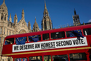 A pro-EU Brexit protest bus outside the UK Houses of Parliament in Westminster, on 28th January 2019, in London, England.